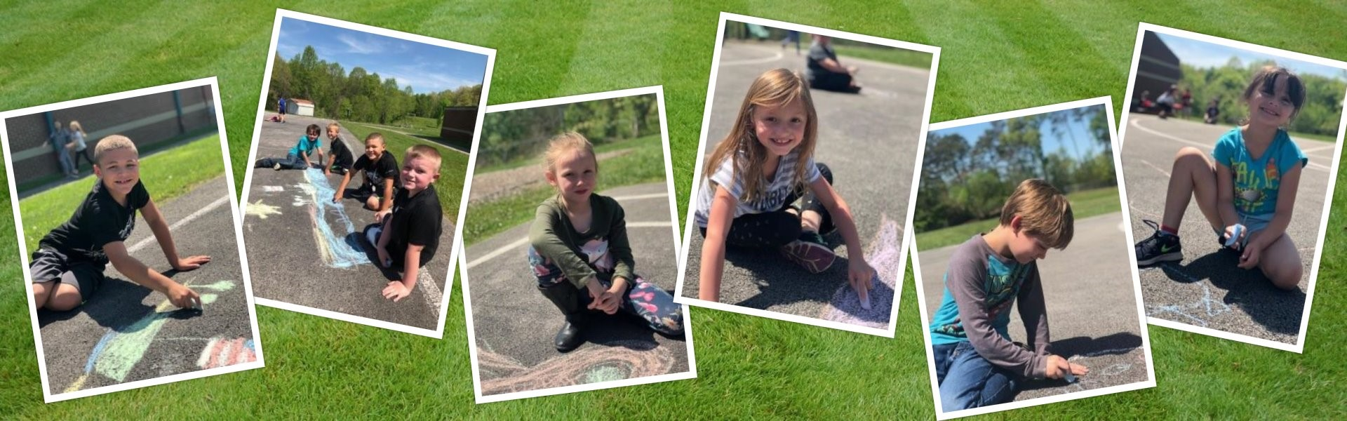 Students enjoyed the great outdoors while creating chalk art!