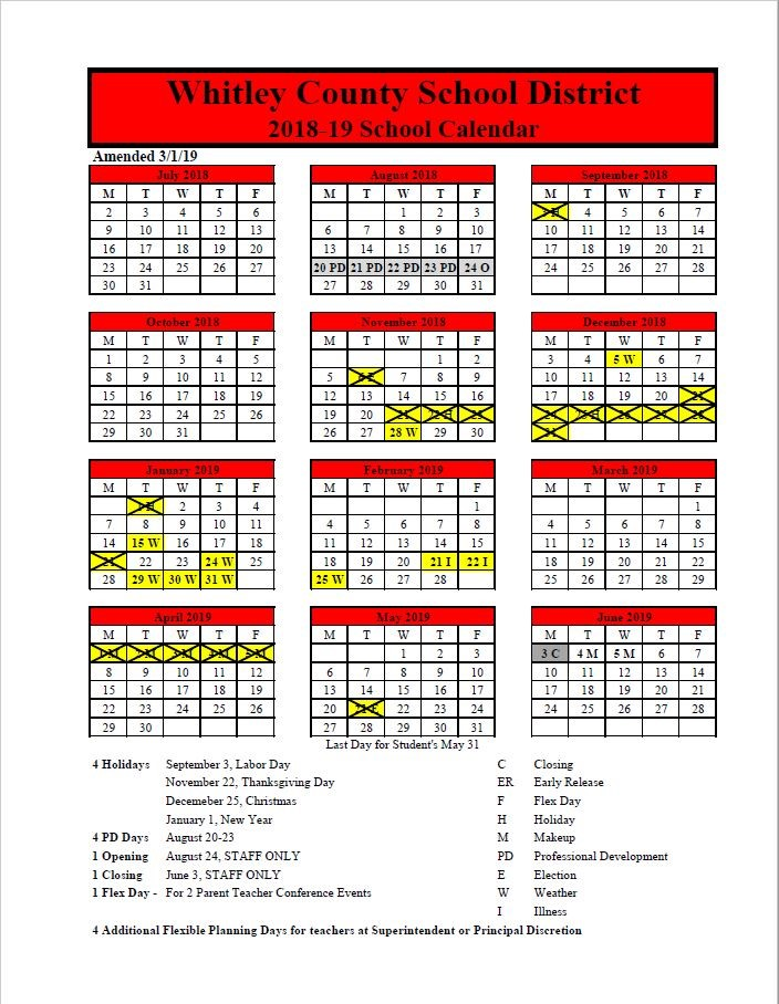 18-19 Amended Calendar March 2019