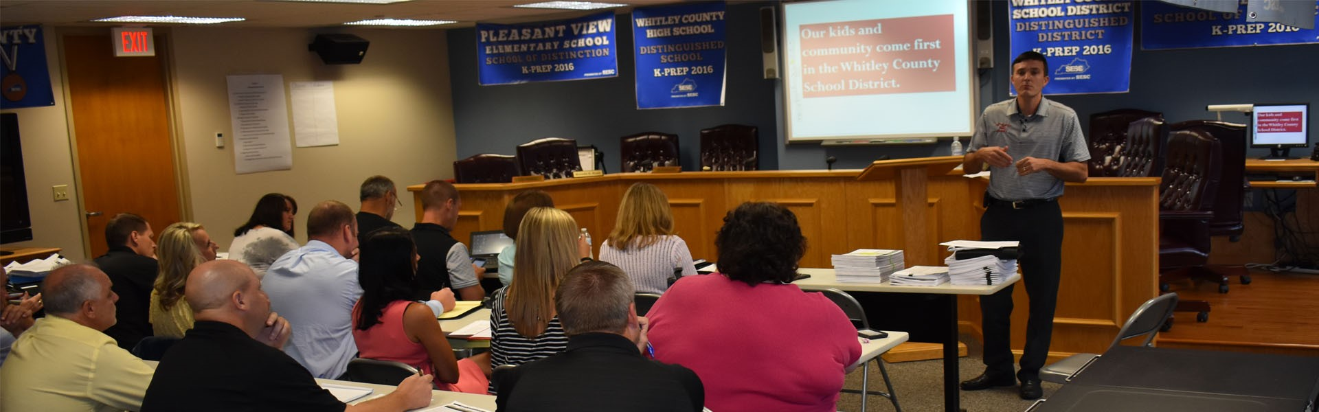 Superintendent John Siler meets with Principals